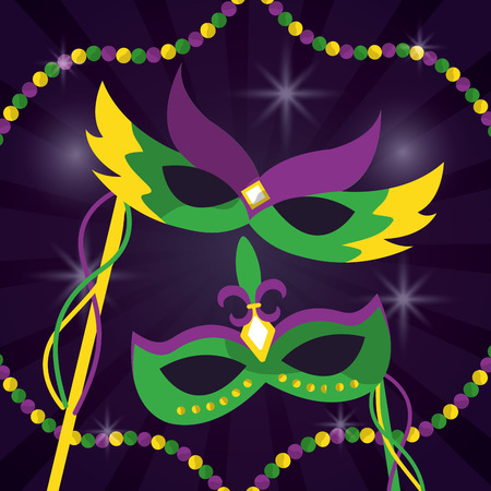 mardi gras carnival masks with feathers jewelry beabs decoration vector illustration
