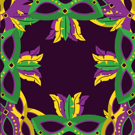 masks with feathers mardi gras decoration border template design vector illustration