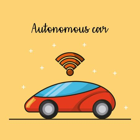 autonomous car driverless vehicle sensor connection image vector illustration 向量圖像