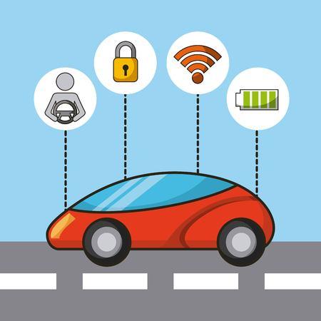 자동차 자율 driverless 보안 센서 및 전기 에너지 기술 특징 벡터 일러스트 레이션 일러스트