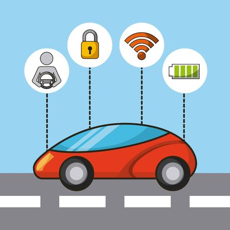 car autonomous driverless security sensor and electric energy technology features vector illustration