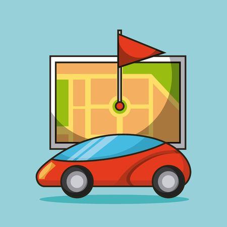 autonomous car map navigation flag destination design vector illustration