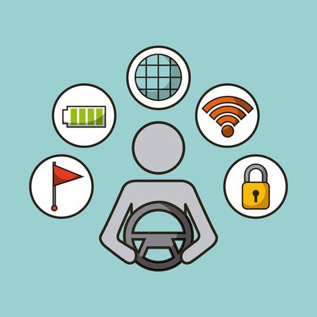 driverless car smart security sensor flag electric icons vector illustration