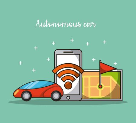 autonomous car self-driving mobile application in use of transport service vector illustration