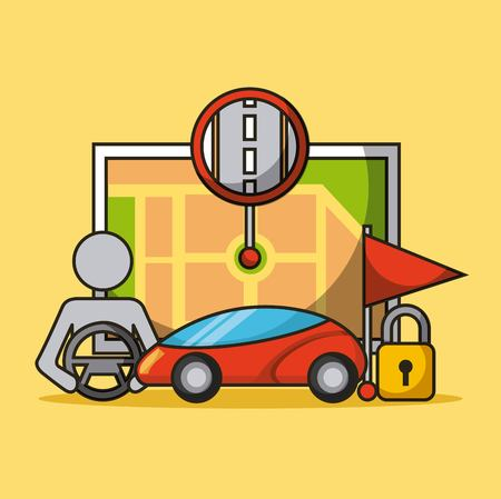 autonomous car driverless vehicle security map urban marker flag vector illustration Иллюстрация