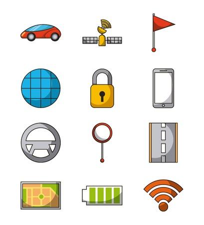 autonomous car satellite flag mobile sensor pin map battery radar security icon set vector illustration Ilustração