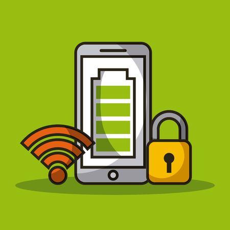 Signal de capteur de chargeur de batterie de téléphone portable et illustration vectorielle de sécurité Banque d'images - 90418262