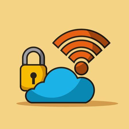 구름 보안 데이터 인터넷 연결 저장소 벡터 일러스트 레이션