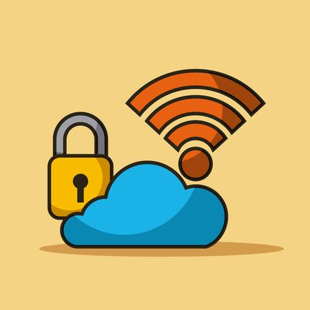 cloud security data internet connection storage vector illustration