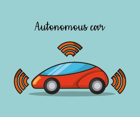 autonomous car wireless sensor signal future technology vector illustration