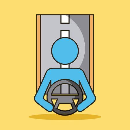 driveless 자동차 똑똑한 자율적 인 도로 탐색 개념 벡터 일러스트 레이션