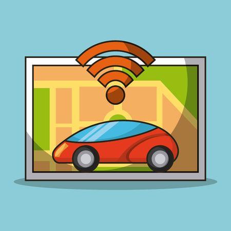 autonomous car sensor map navigation smart technology vector illustration