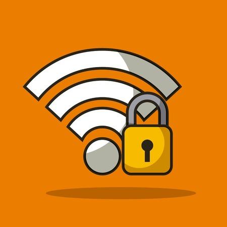 無線インターネット信号データ ベクトル図と安全な南京錠ロック