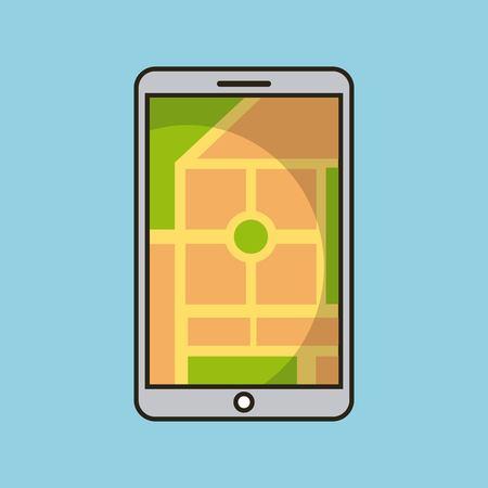 smartphone gps map navigation application web vector illustration Vectores