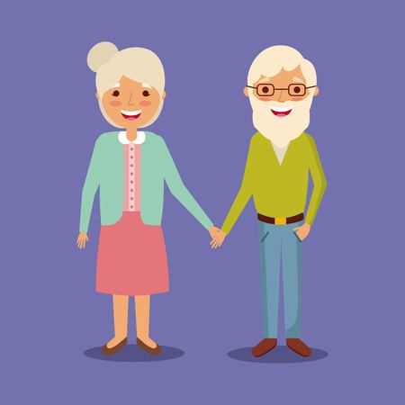 cute couple the old woman and man grandparents lovely vector illustration Illustration