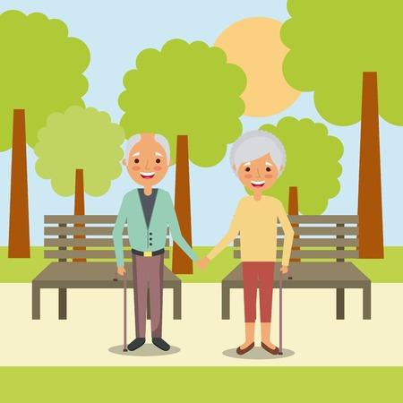 koppel de oudere man en vrouw hand in hand in park met bank boom landschap vectorillustratie