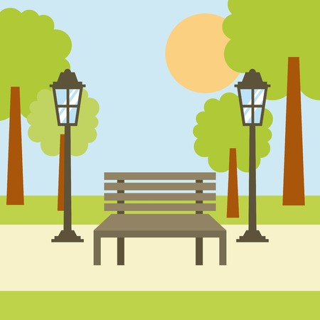 park bench lamp tree sun landscape scene vector illustration