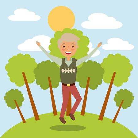 old man grandfather character jumping happy in the park vector illustration