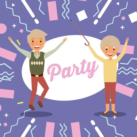 happy cheerful senior couple grandparents jump party poster vector illustration Ilustrace