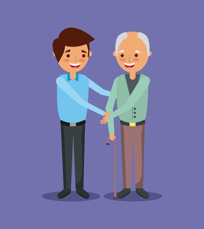 young man with old man holding hand help together vector illustration Иллюстрация
