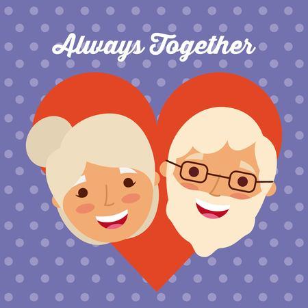 Palabra encantadora linda y feliz pareja senior con letras siempre junto con la ilustración de vector de fondo de corazón amor Foto de archivo - 90419337