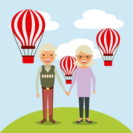 couple the old woman and man grandparents with air balloons flying sky vector illustration