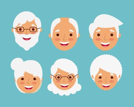 祖父母は幸せな笑顔高齢者キャラクターベクトルイラストに直面しています