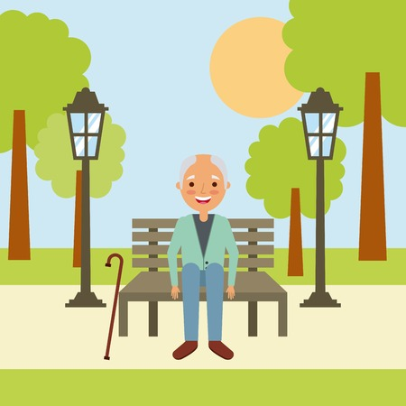 old man grandpa sitting in bench waiting vector illustration