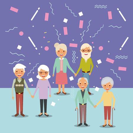 three couple the elderly man and woman grandparents happy vector illustration Ilustrace