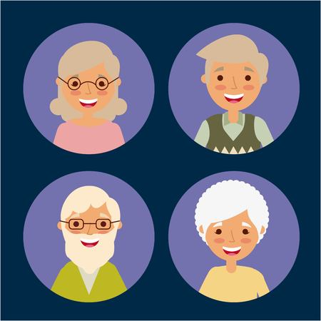 round avatars of older women and men people vector illustration Ilustracja