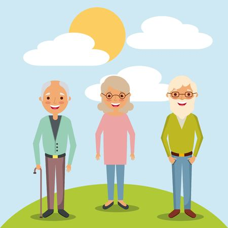 older woman and men grandparents standing in landscape vector illustration