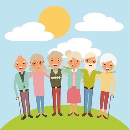 embraced elderly woman and man smiling together landscape vector illustration