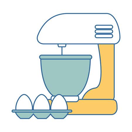Mischer elektrisch mit Eiern Vektor-Illustration-design Standard-Bild - 90468324
