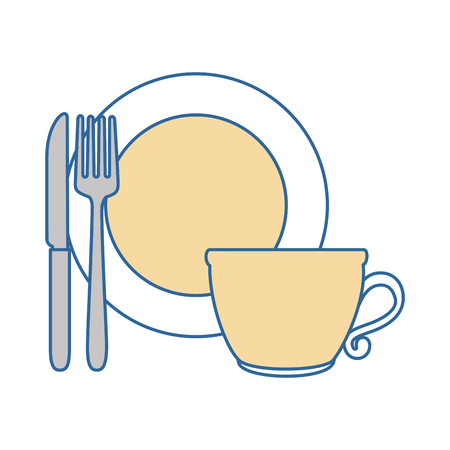 dish with cup and cutlery vector illustration design Illustration