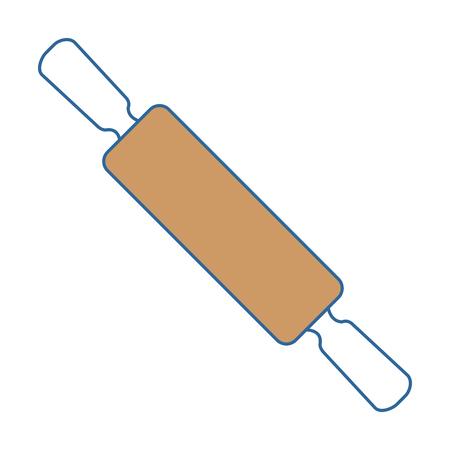 Diseño aislado del ejemplo del vector del icono del rodillo de madera Foto de archivo - 90468334