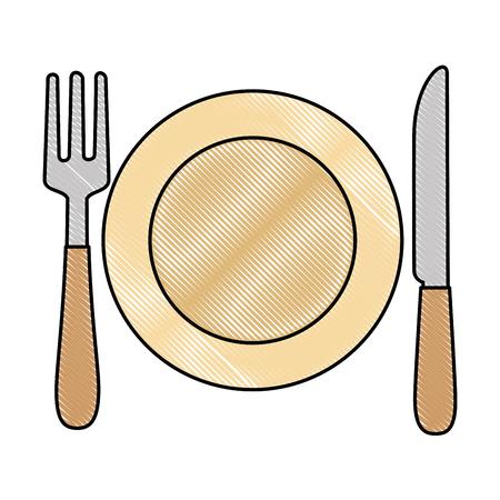 Schotel met vork en mes vector illustratieontwerp Stockfoto - 90468631