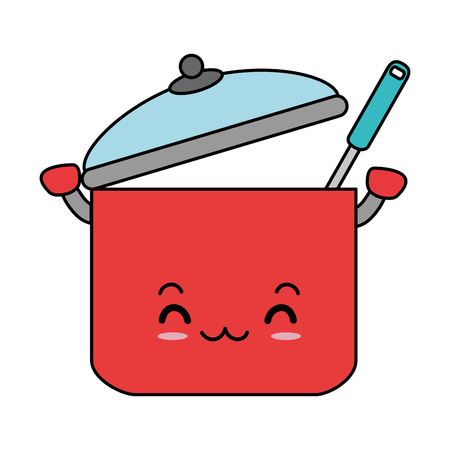 kitchen pot with ladle character vector illustration design