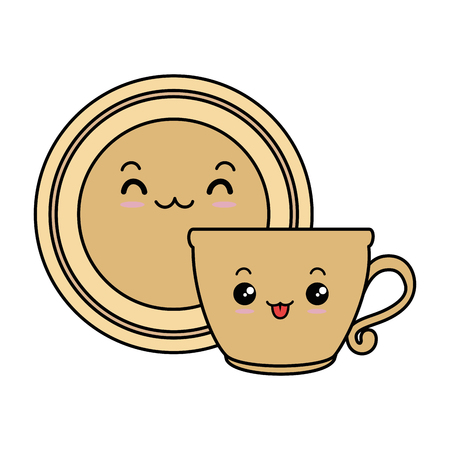 dish with cup character vector illustration design