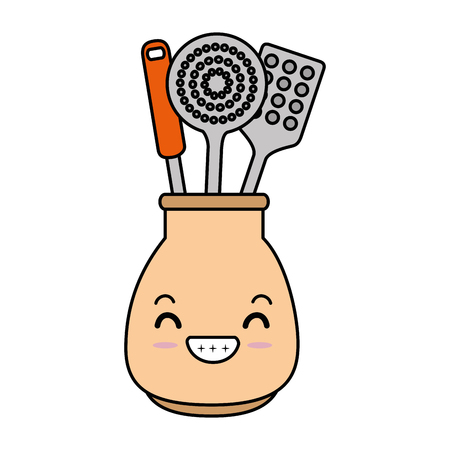spoons cutlery in pot character vector illustration design