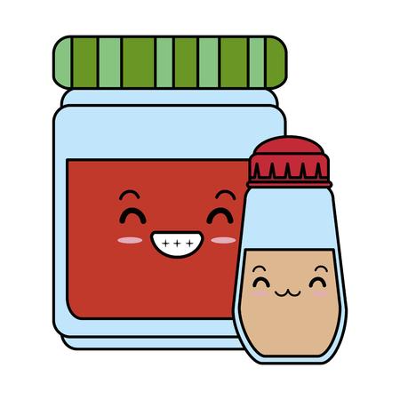 spices bottles character vector illustration design Çizim