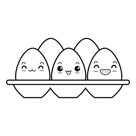 eggs carton character vector illustration design