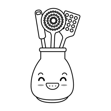 lepels bestek in pot karakter vector illustratie ontwerp