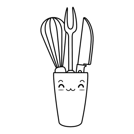 mixer and cutlery in pot character vector illustration design Illustration
