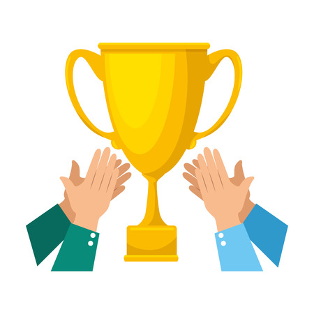 hands with trophy cup award icon vector illustration design