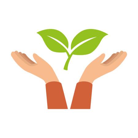 Mains avec des feuilles de plantes image de conception de vecteur Banque d'images - 90472243