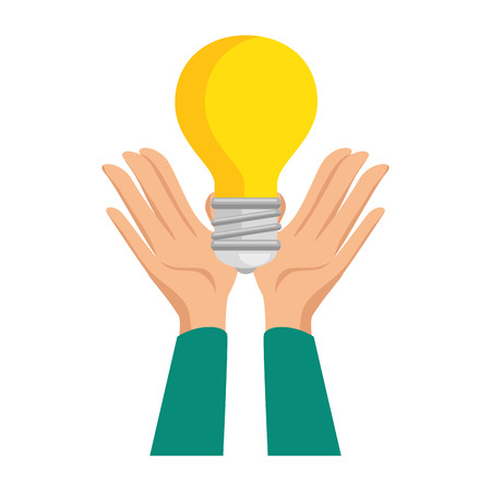 hands human with bulb light vector illustration design Illustration