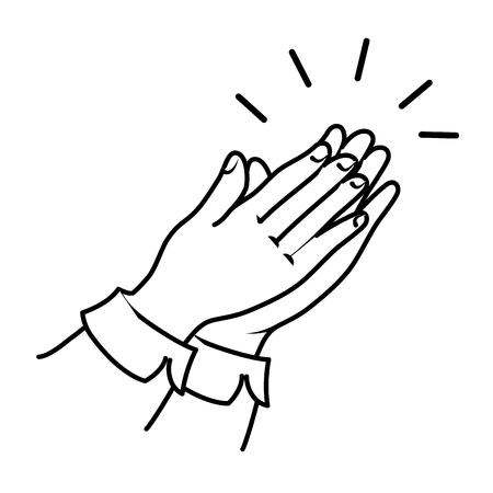 mãos aplaudindo isolado ícone vetor ilustração design