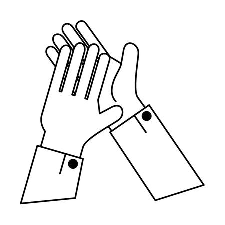 Manos aplaudiendo diseño de ilustración de vector de icono aislado Foto de archivo - 90474705