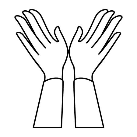 Manos aplaudiendo diseño de ilustración de vector de icono aislado Foto de archivo - 90474708