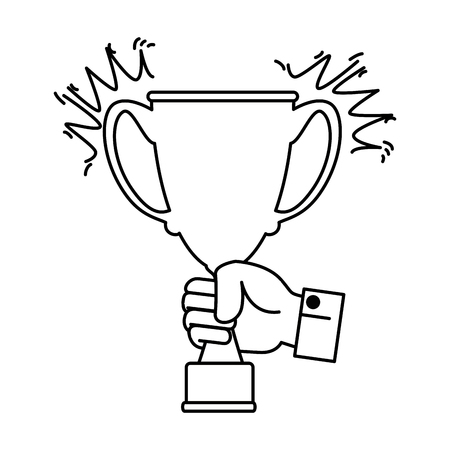 hand with trophy cup award icon vector illustration design Illustration